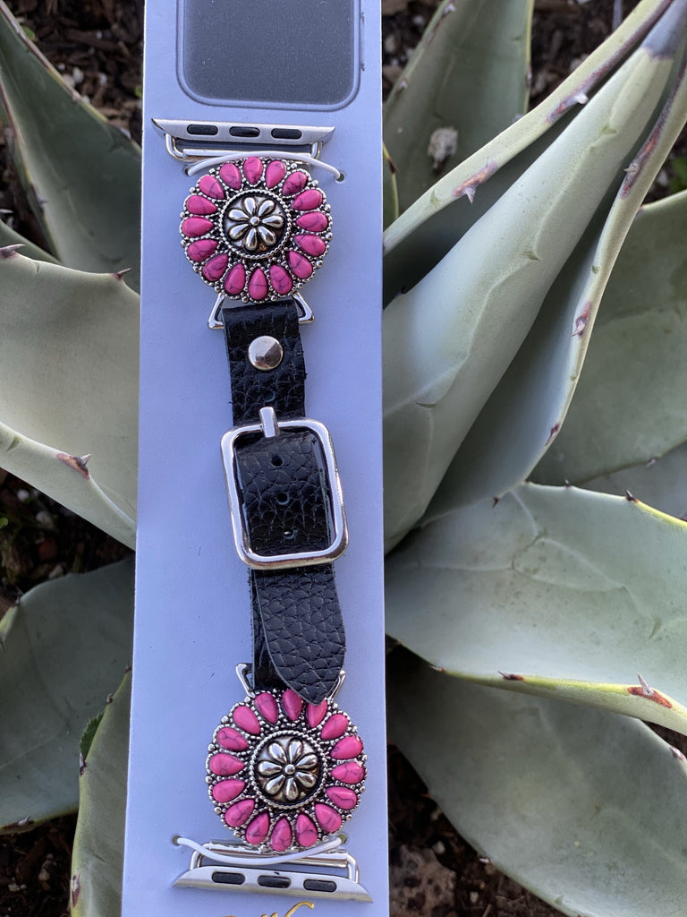 Apple Watch Pink Beaded Flower Concho -38-40mm - Jobes Hats