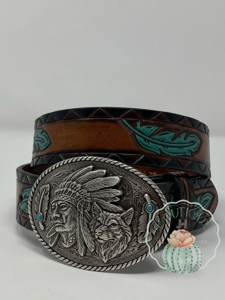Ariat Womens Belt Indian Turquoise Feather - Jobes Hats