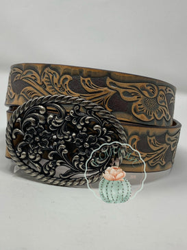 Ariat Womens Belt Turquoise Tooled Oval Buckle - Jobes Hats