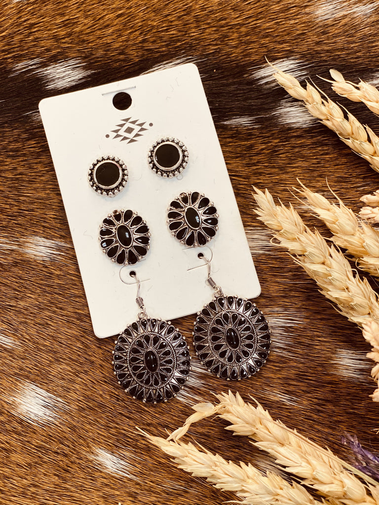 Black Concho Stud Earrings Set - Jobes Hats