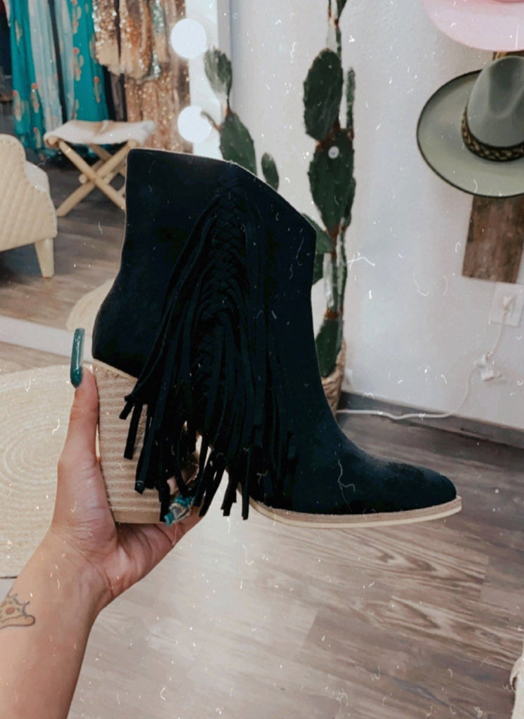 Black Side Fringe Booties - Jobes Hats