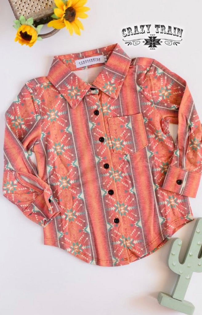 Boys Aztec Print Button Up Shirt - Jobes Hats