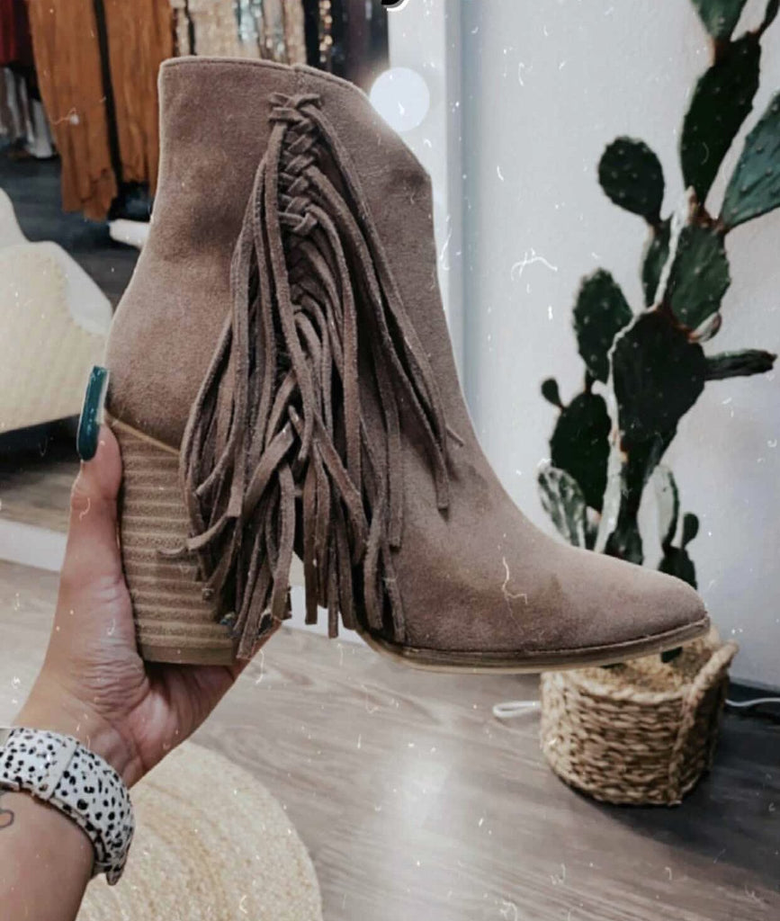 Brown Side Fringe Booties - Jobes Hats
