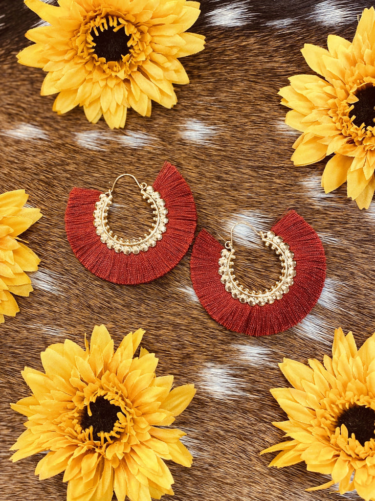 Burgundy Hoop Tassel Earrings - Jobes Hats