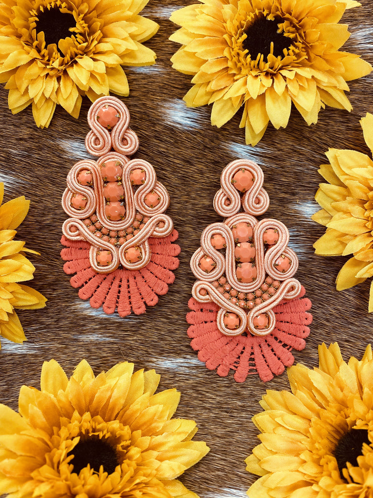 Colombian Handmade Soutache Earrings-CORAL- - Jobes Hats