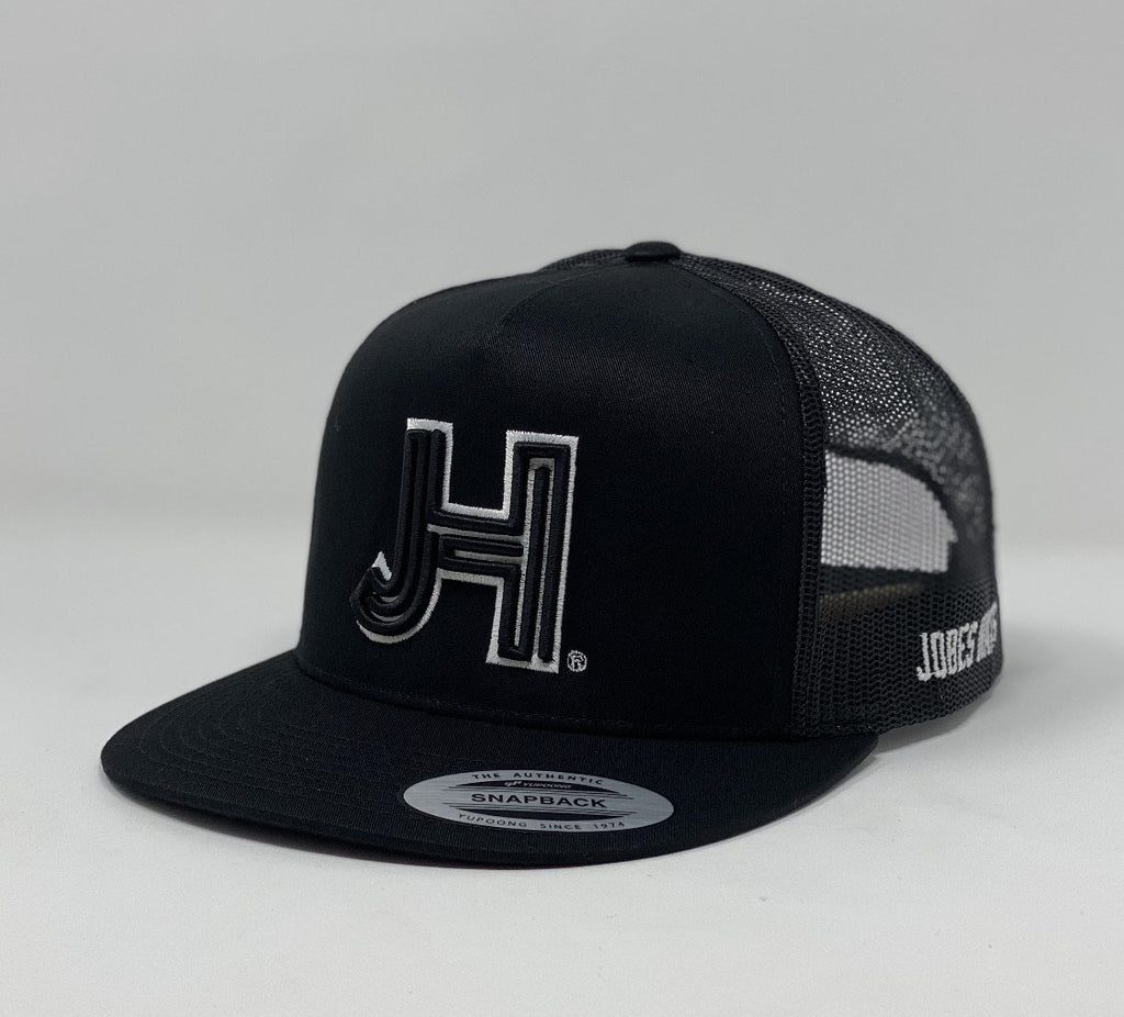 Jobes Hats Trucker -  All black- black 3D JH white outline - Jobes Hats