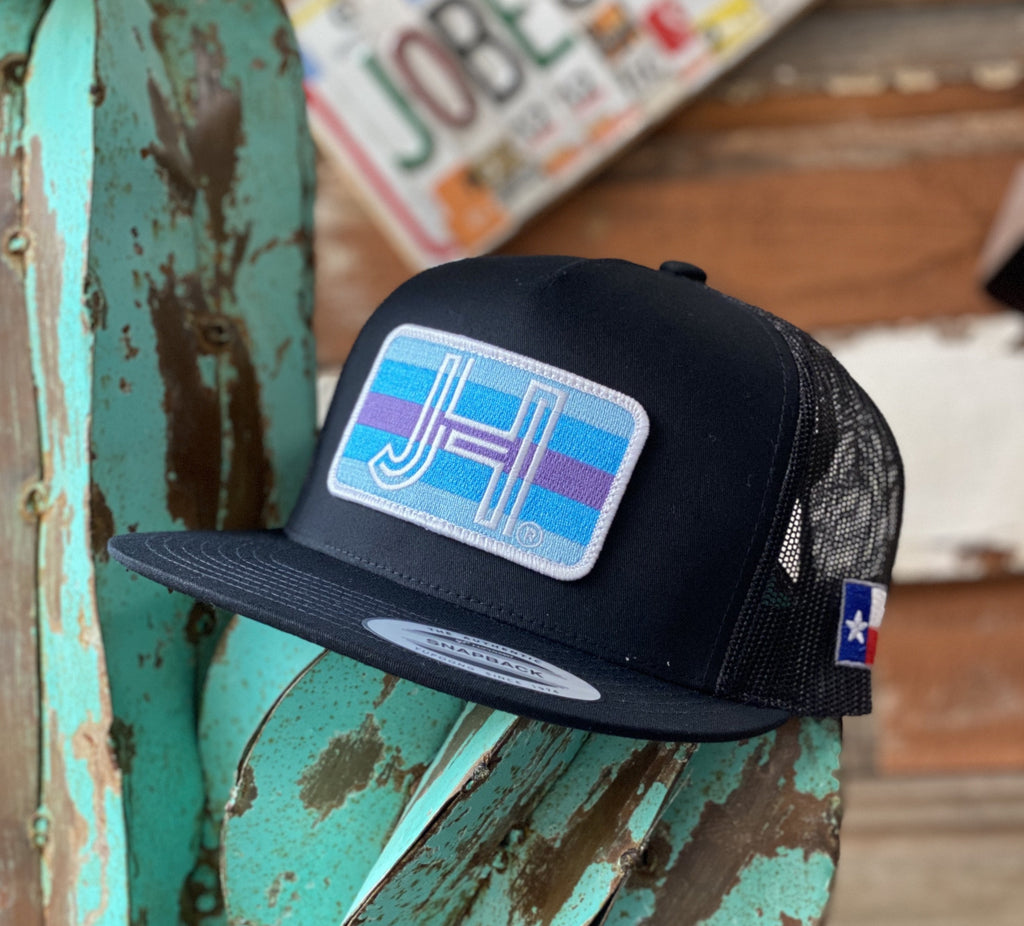 Jobes Hats Trucker - All Black Tri Blue Patch / White border - Jobes Hats