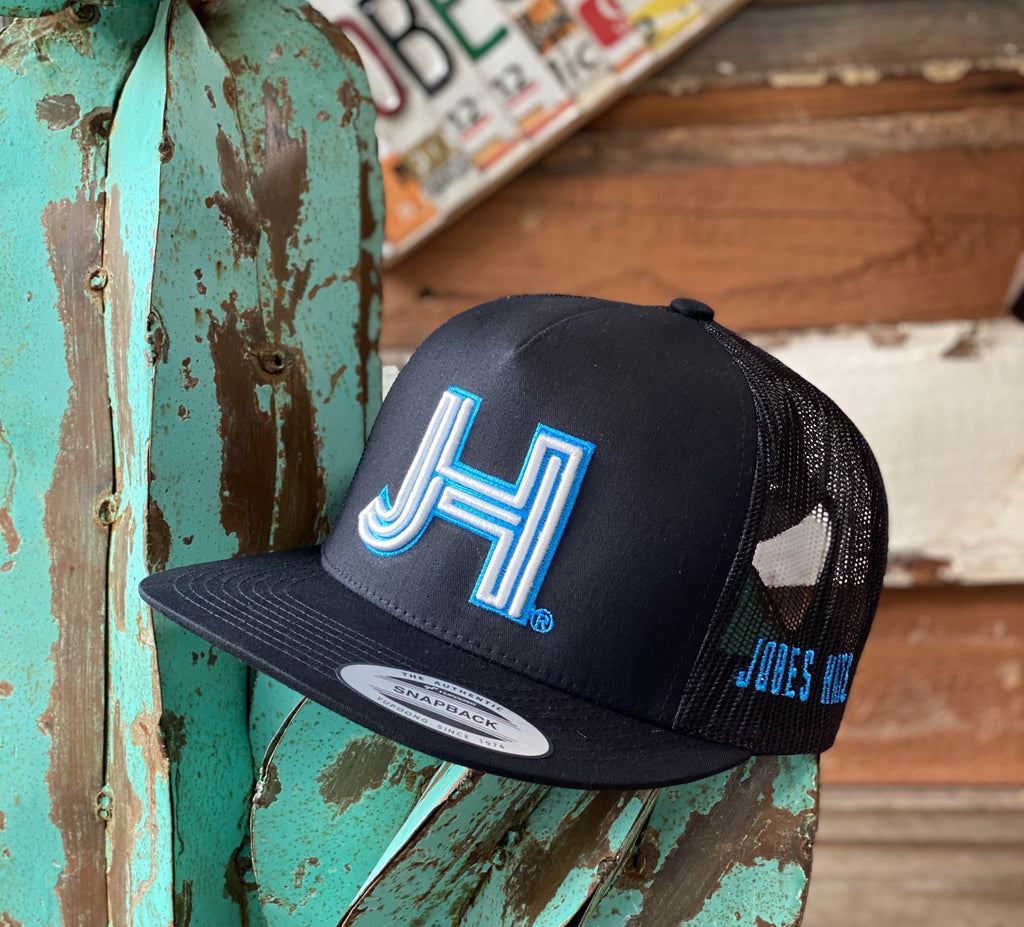Jobes Hats Trucker - All Black White 3D JH with Turquoise outline - Jobes Hats