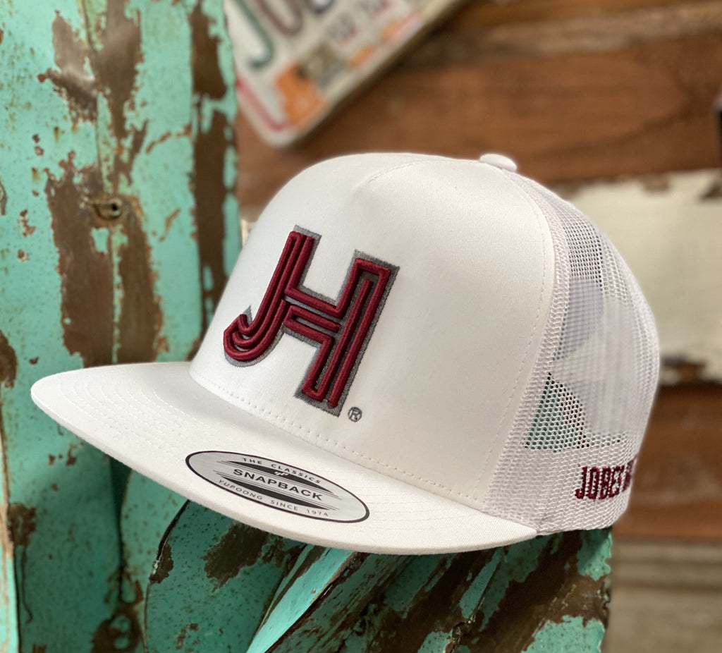 Jobe's Hats Trucker - All White cap Maroon JH - Jobes Hats