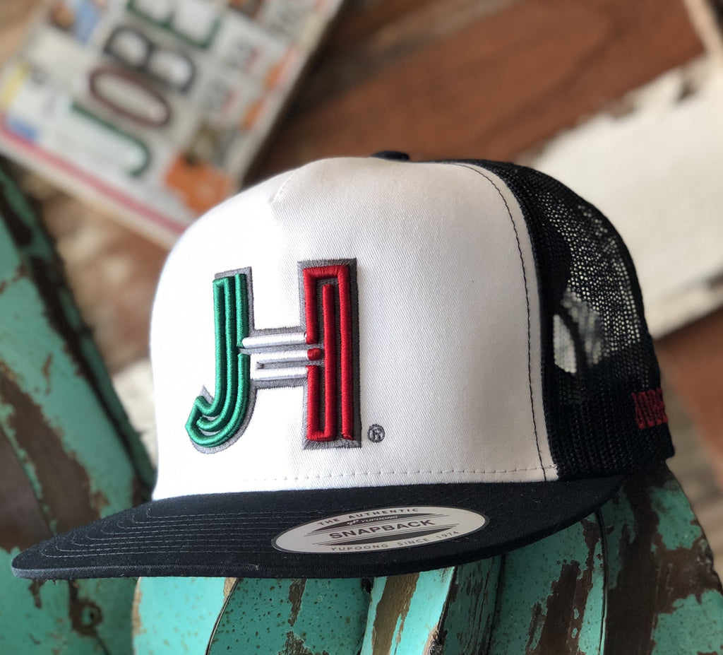 Jobes Hats Trucker - Black/White- 3D Mexico JH/Silver outline - Jobes Hats