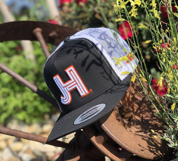 Jobe's Hats Trucker - Jobe's HatsJHC-Black/White- Orange outline - Jobes Hats