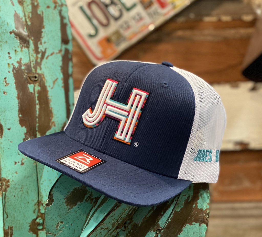 Jobes Hats Trucker - Navy/White White JH and Serape outline - Jobes Hats