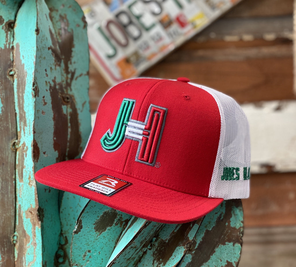Jobes Hats Trucker - Red/White  3D JH Mexico Cap - Jobes Hats