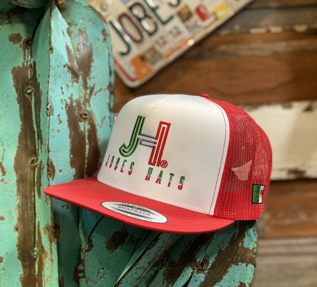 Jobes Hats Trucker - White and Red Tricolor / Mexico flag - Jobes Hats