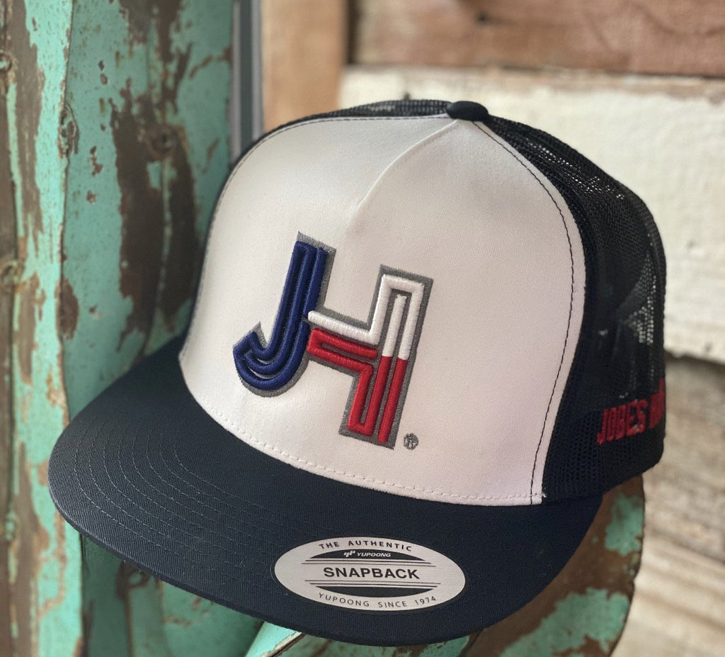 Jobes Hats Trucker - White/Black - 3D Texas with Charcoal outline - Jobes Hats