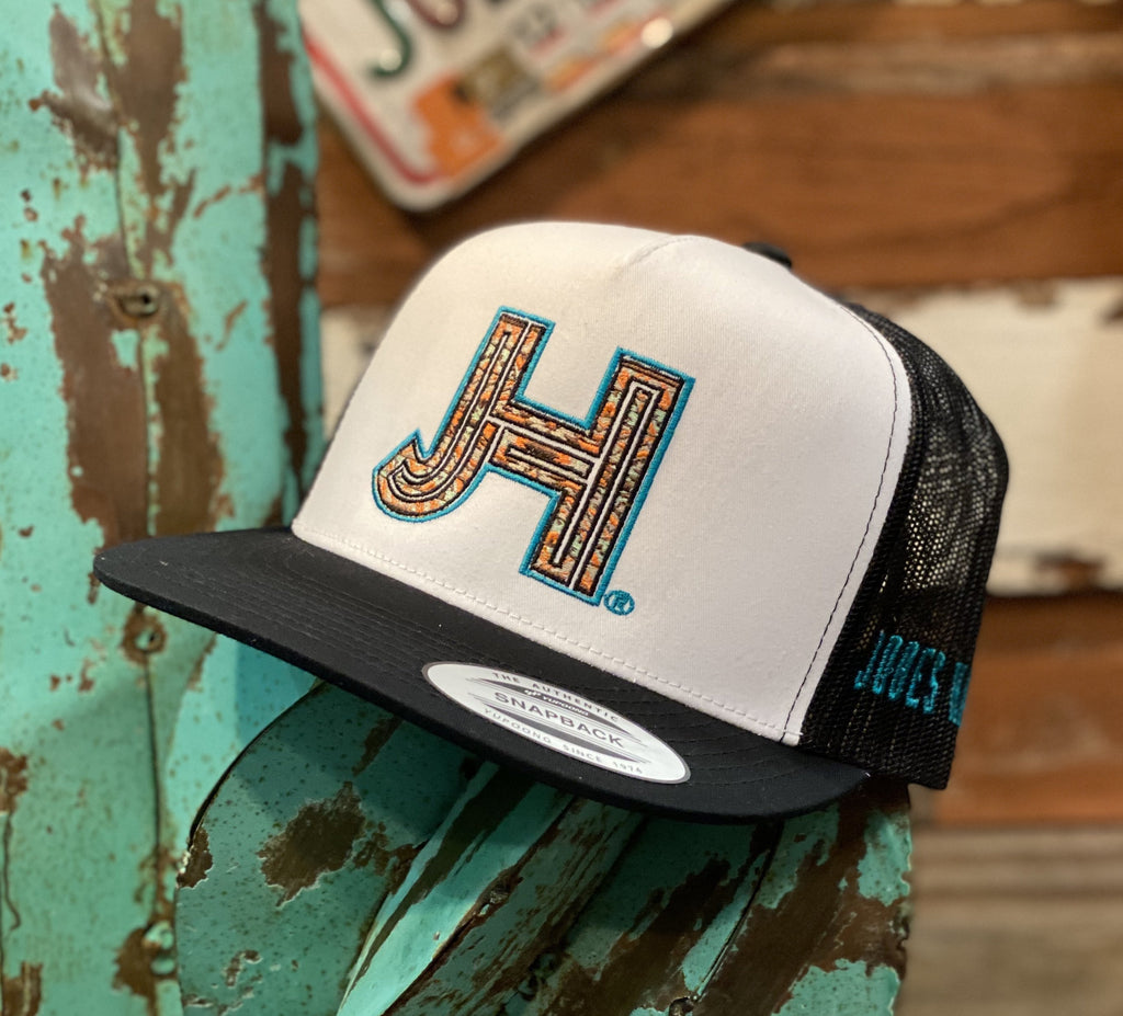 Jobes Hats Trucker - White/Black Coral Serape JH / Turquoise outline - Jobes Hats