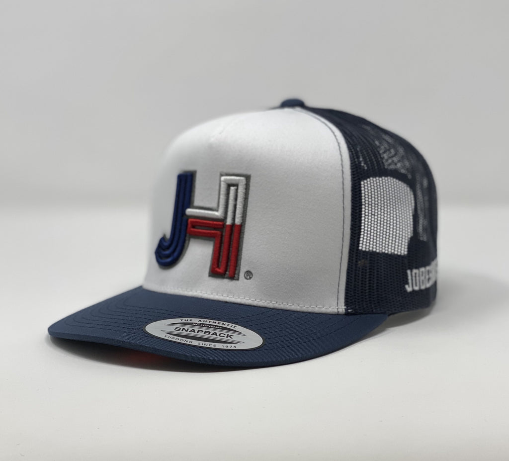 Jobes Hats Trucker - White/Navy - Texas with Charcoal outline - Jobes Hats