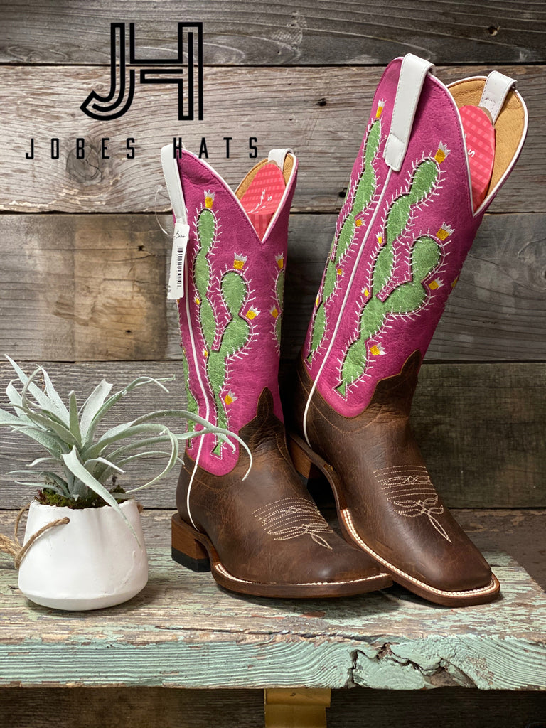 Ladies Macie Bean M9132 Prickled Pink Cactus Boots - Jobes Hats