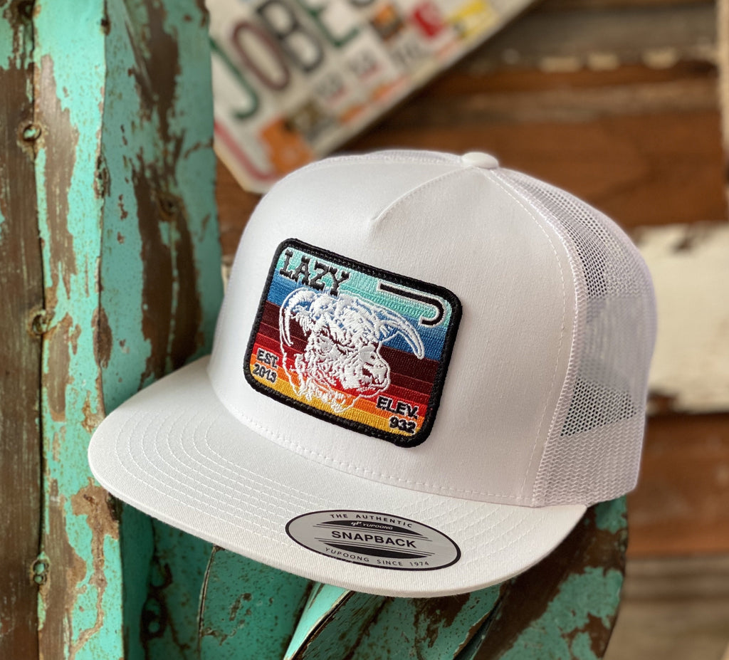 Lazy J cap - All White Elevation Serape Patch - Jobes Hats