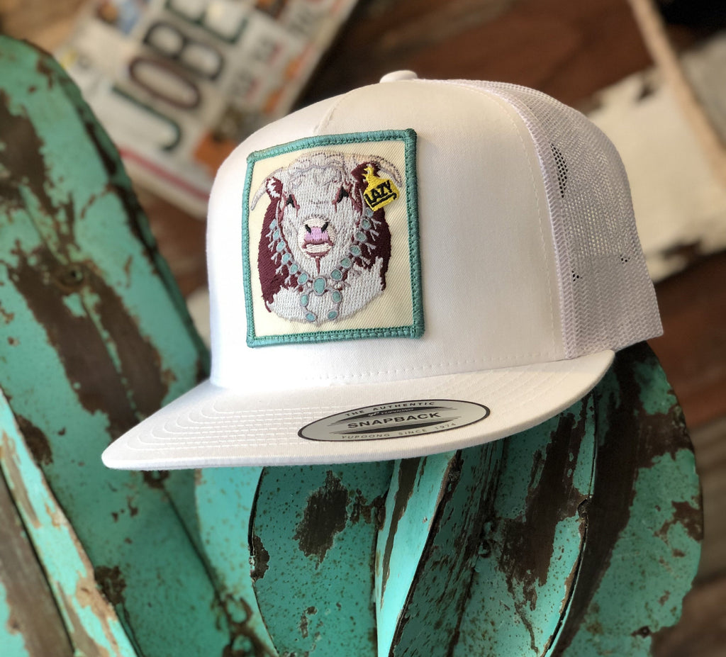 Lazy J cap - All White Hereford Squash Blossom patch - Jobes Hats