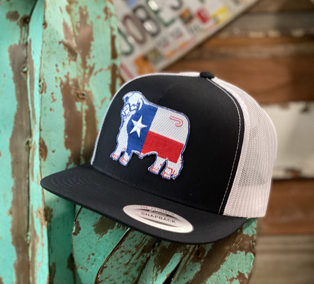 Lazy J cap - Black and White Hereford Texas patch - Jobes Hats