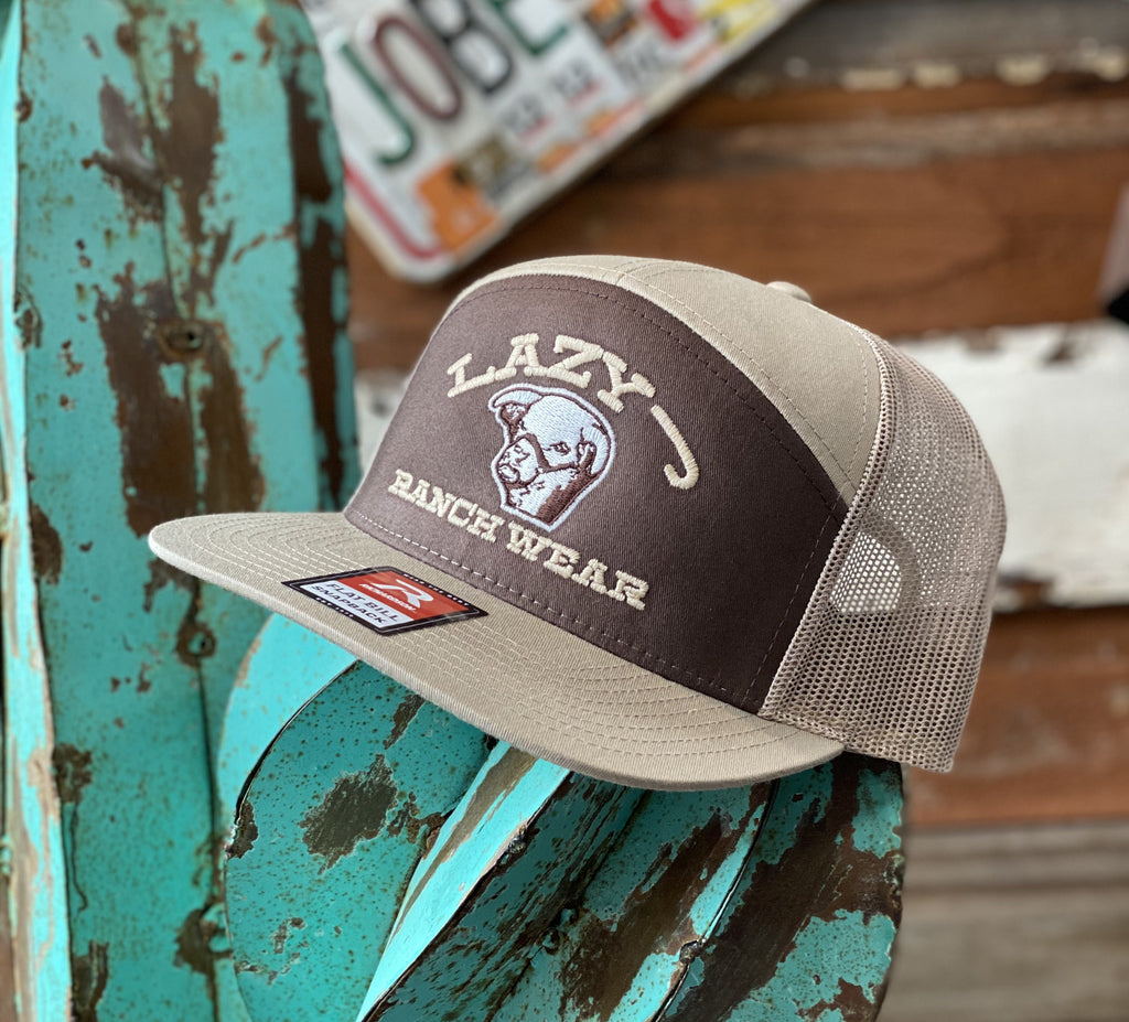 Lazy J cap - Brown and Tan embroidered Show Bull (7 panel cap) - Jobes Hats