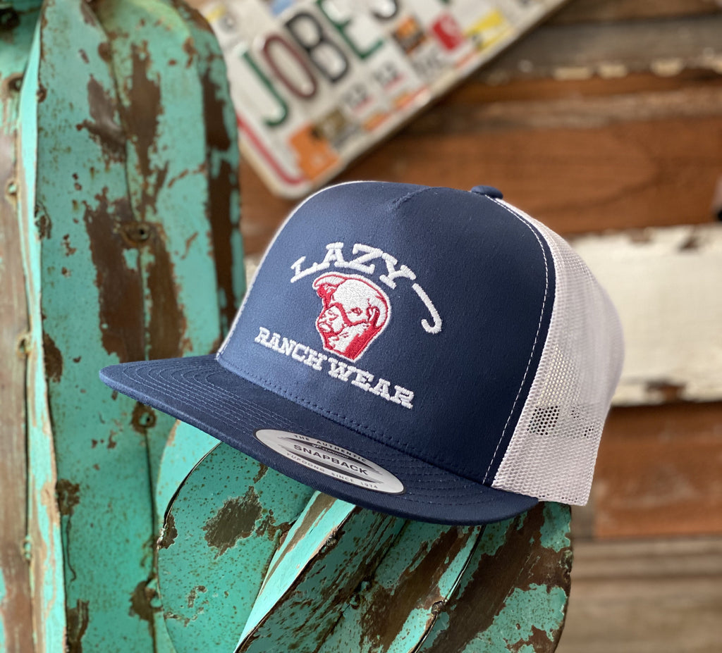 Lazy J cap - Navy and White embroidered Show Bull - Jobes Hats