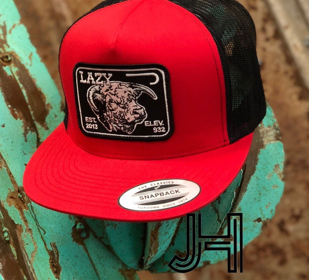 Lazy J cap - Red and Black Elevation black patch - Jobes Hats