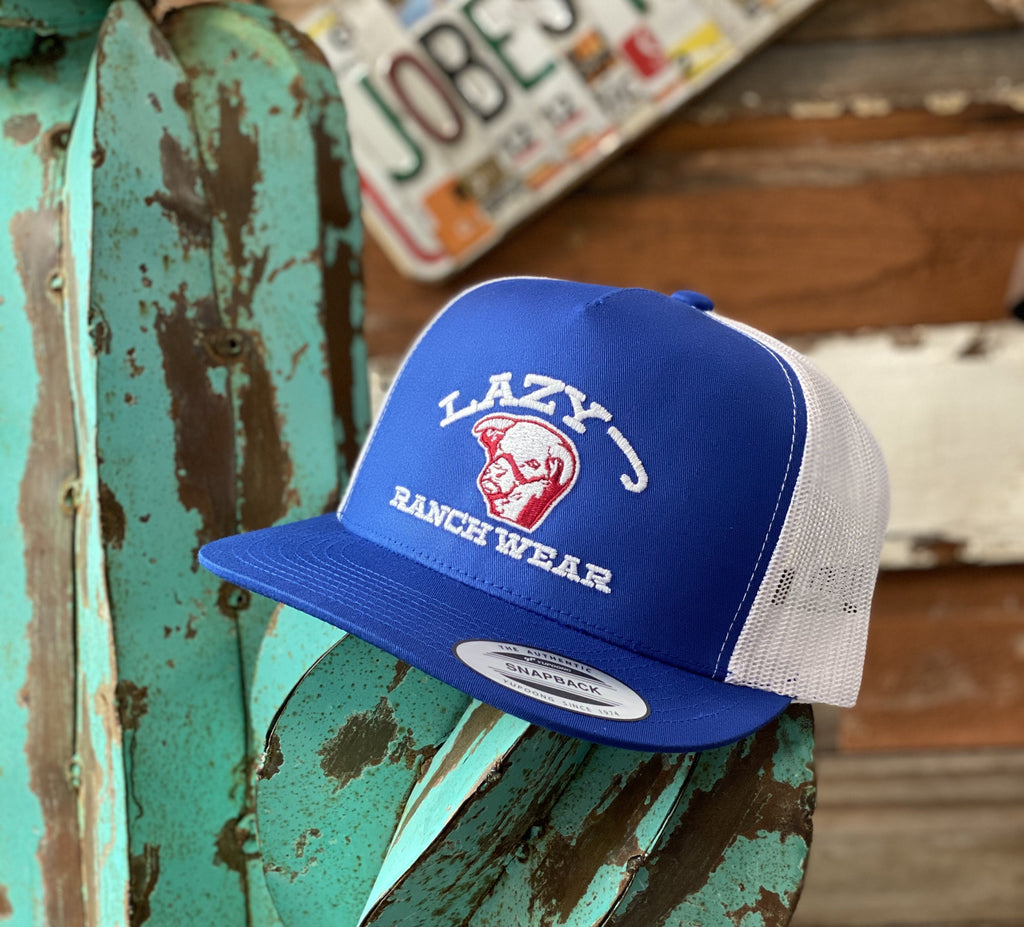 Lazy J cap - Royal Blue and White embroidered Show Bull - Jobes Hats