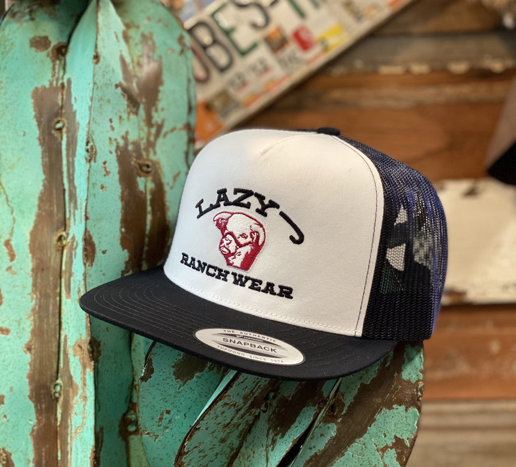 Lazy J cap - White/Black Embroidered Show Bull - Jobes Hats