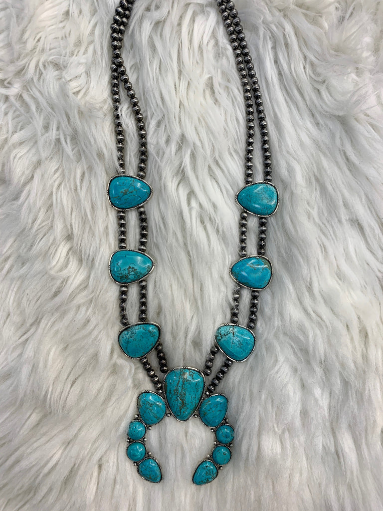 Long Turquoise Squash blossom Necklace - Jobes Hats