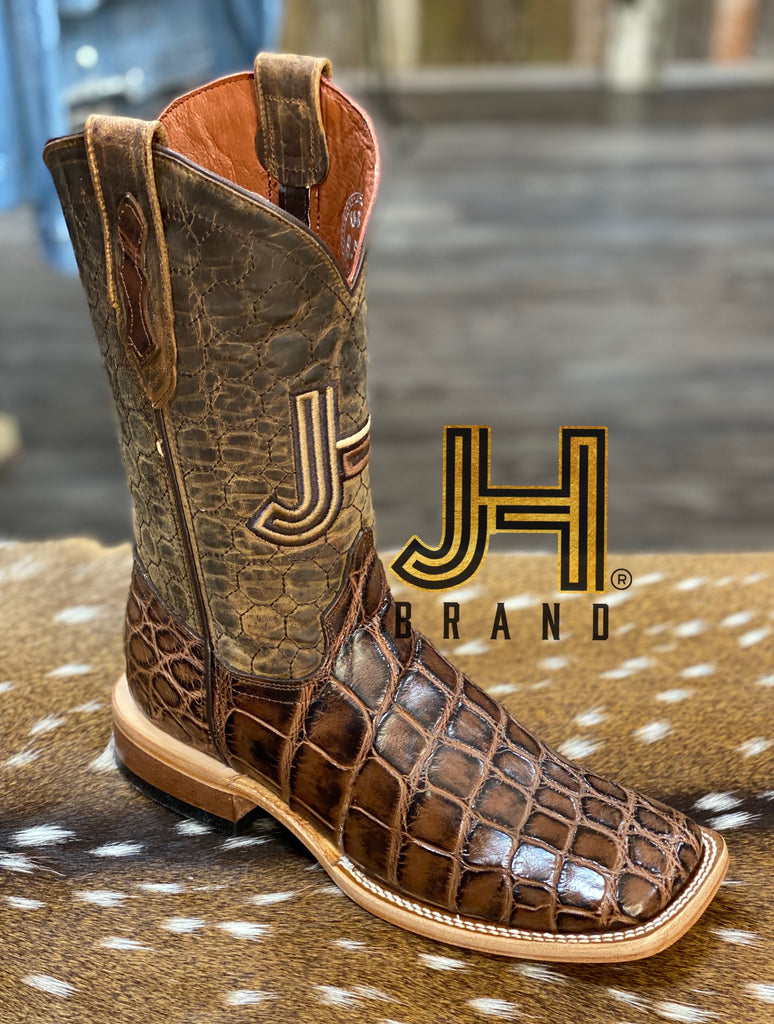 Mens JH Gator Belly Salvaje Square Toe Boots / Panal Tops - Jobes Hats