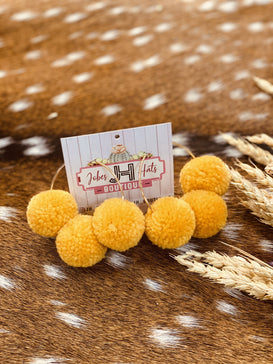 Mustard Tri- Pom Pom Hoop Earrings - Jobes Hats