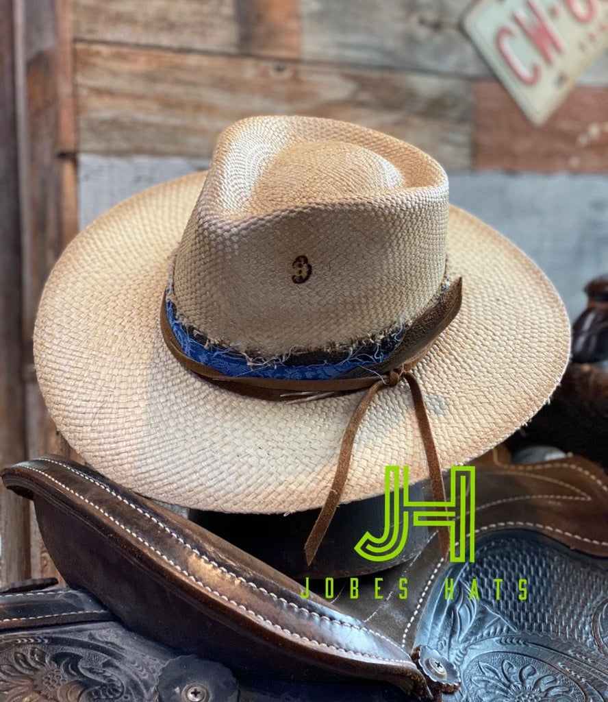 "New 2020 Golden Hour Fashion Hat 3""1/8 Brim (Natural Distressed) - Jobes Hats"