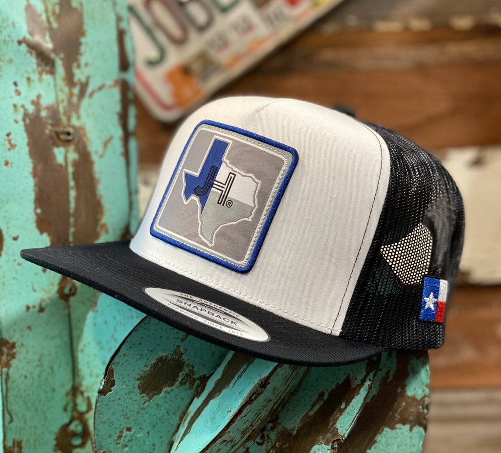 New 2020 Jobes Cap- White and Black Texas blue/grey patch - Jobes Hats