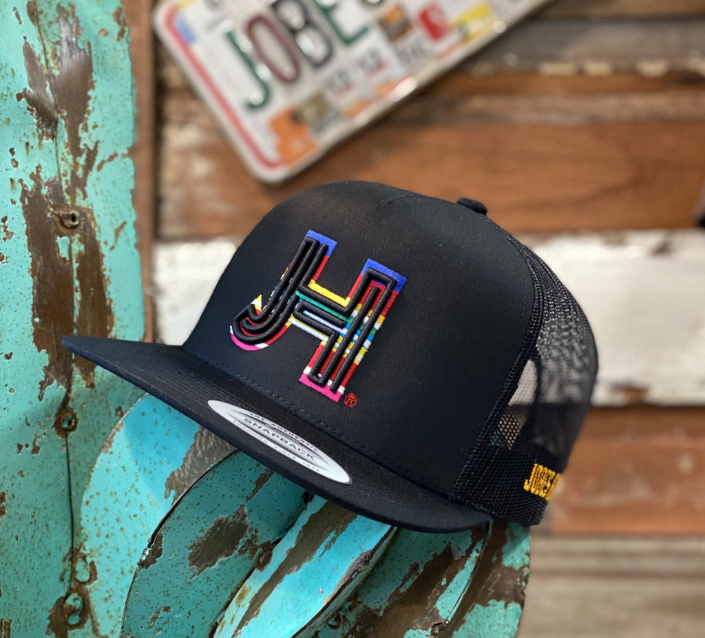 New 2020 Jobes Hats Trucker - All Black 3D black/Serape outline - Jobes Hats