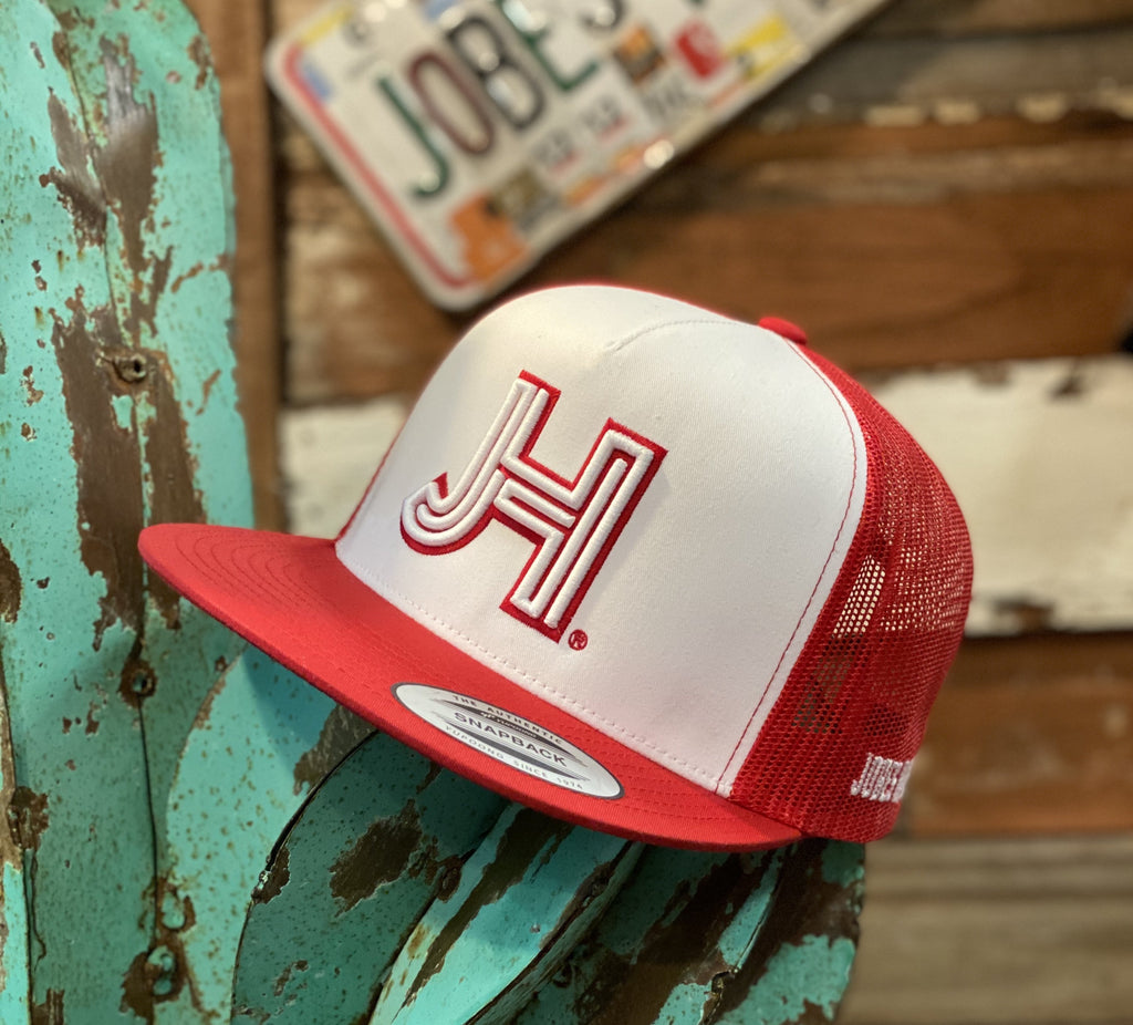 New 2020 Jobes Hats Trucker - Red/White- 3D white JH/Red outline - Jobes Hats