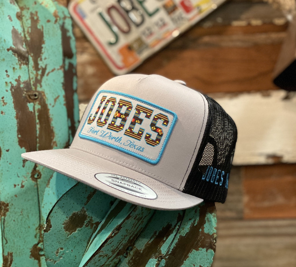 New 2020 Jobes Hats Trucker - Silver / Black Serape patch / Blue Border - Jobes Hats