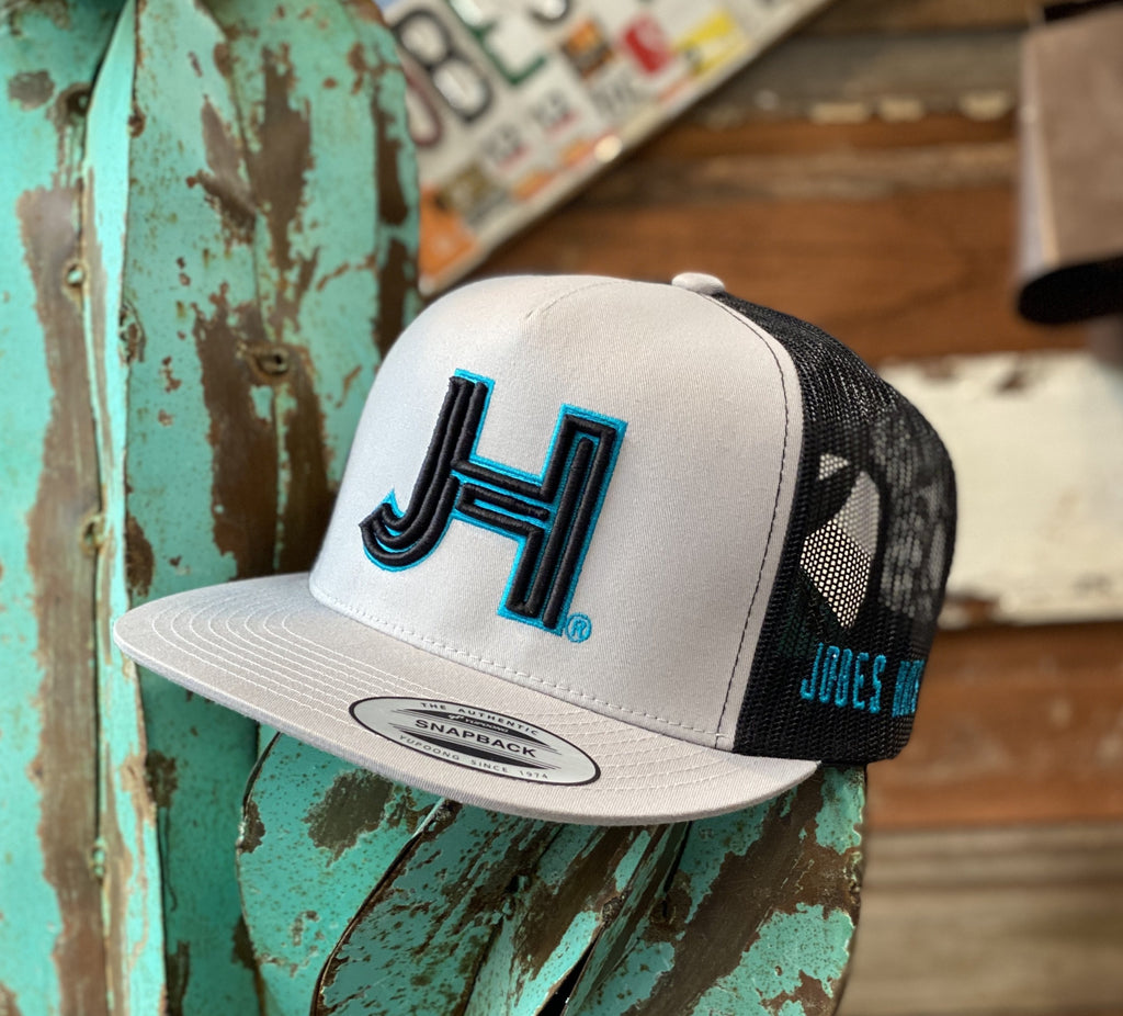 New 2020 Jobes Hats Trucker - Silver/Black 3D black JH with Turquoise outline - Jobes Hats