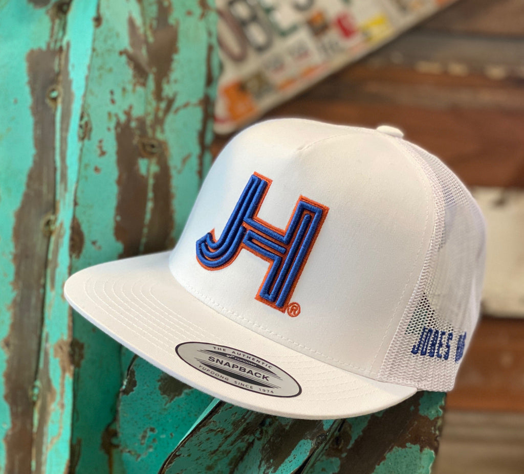 NEW 2021 Jobes Hats Trucker - All White Cap 3D Blue JH Rust Outline (Limited Edition) - Jobes Hats