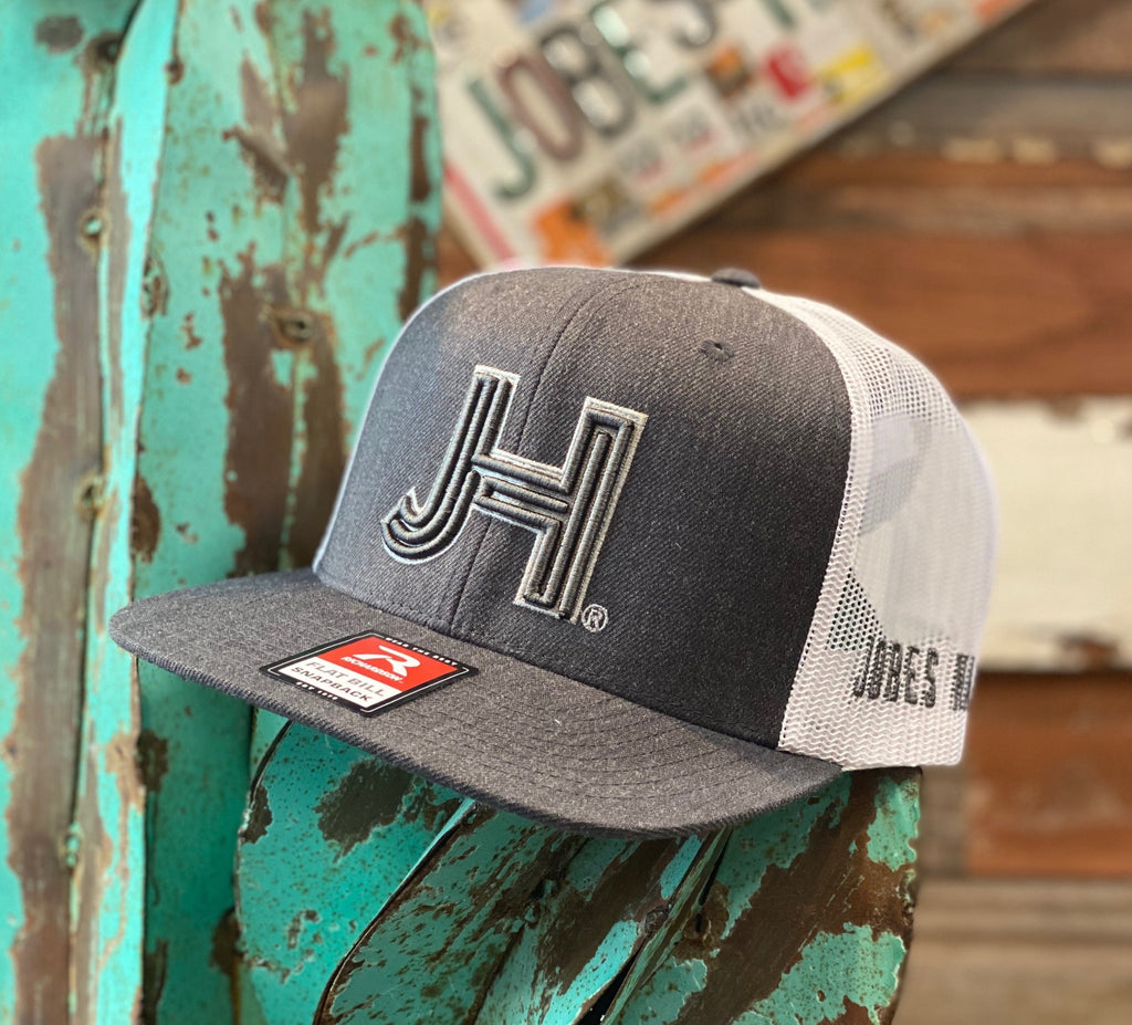 NEW 2021 Jobes Hats Trucker - Heather Grey/White Grey 3D JH Silver Outline (Limited Edition) - Jobes Hats