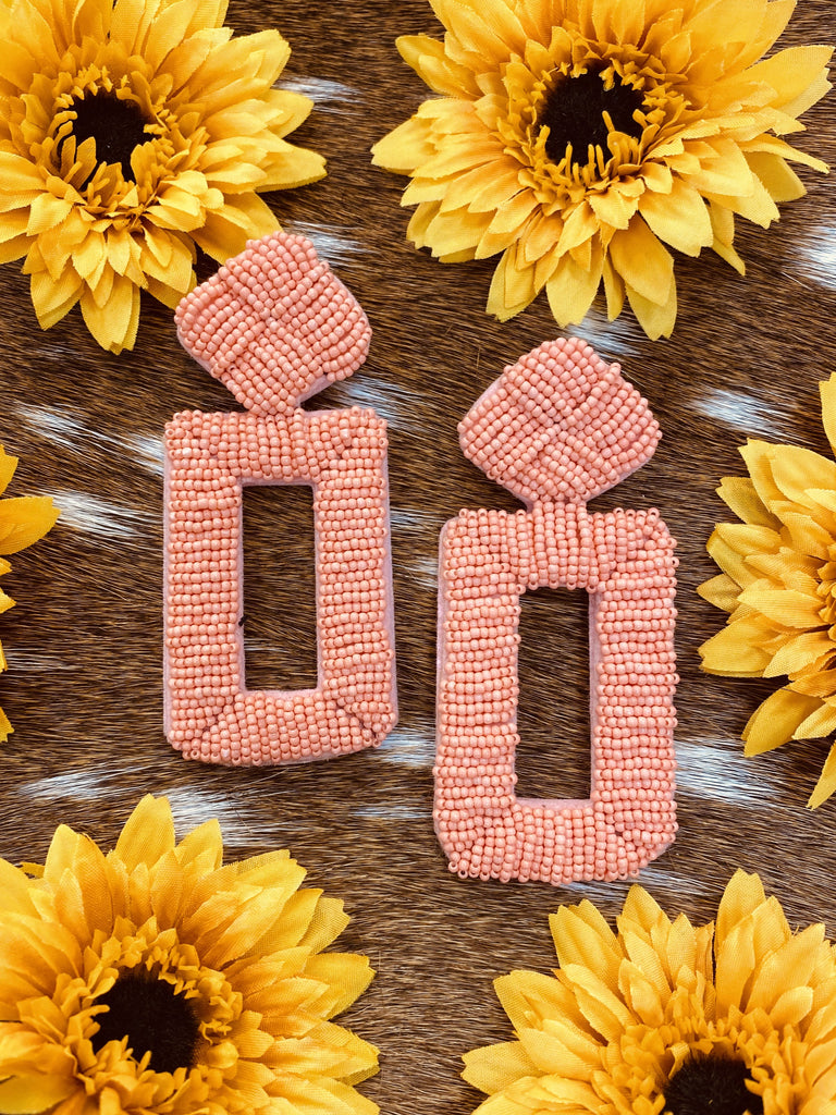 Rectangle Coral Colombian Handmade Earrings - Jobes Hats