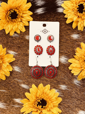 Red Concho Stud Earrings-JH Boutique-Jobes Hats