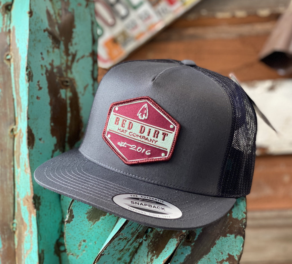 Red Dirt Hat Co. - All Grey Arrow Head patch - Jobes Hats