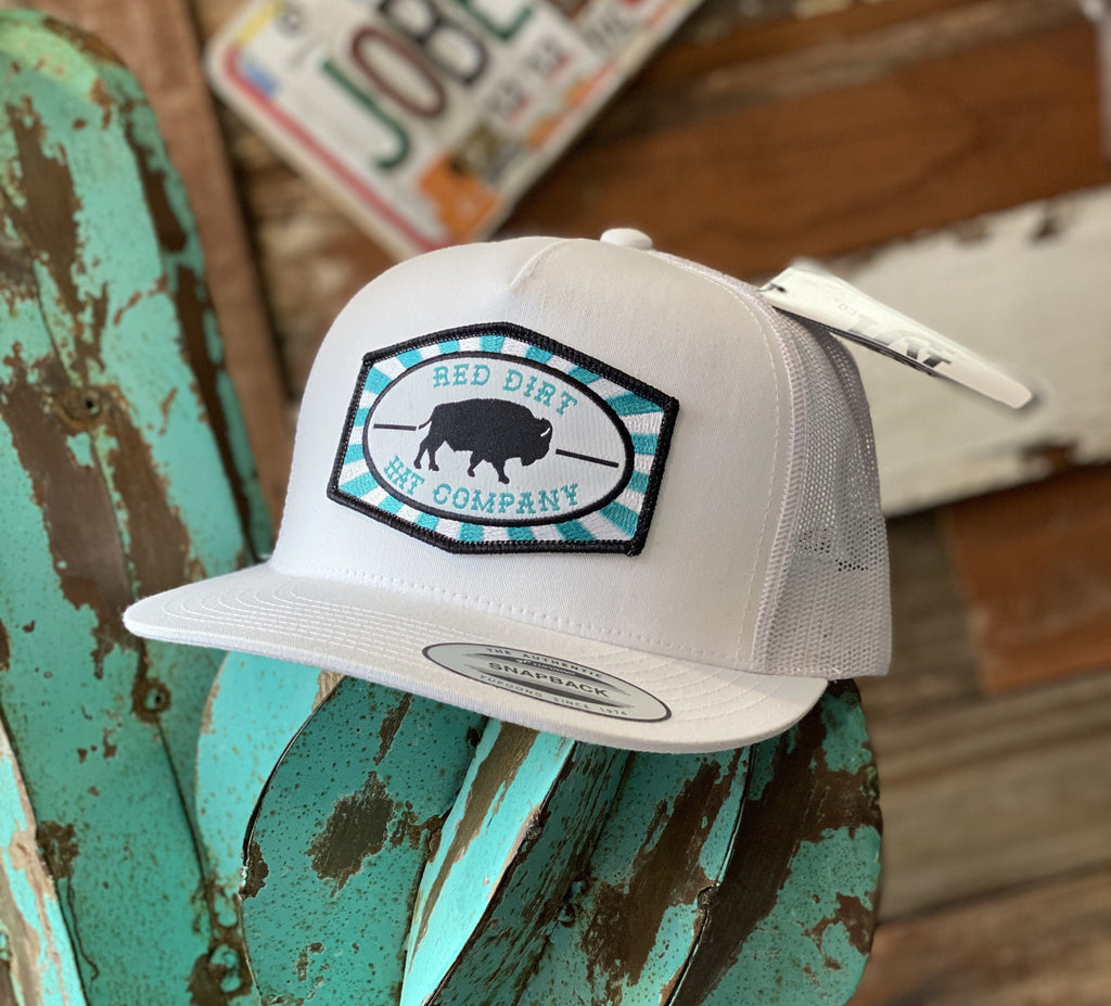Red Dirt Hat Co. - All White Buffalo Turquoise Patch - Jobes Hats