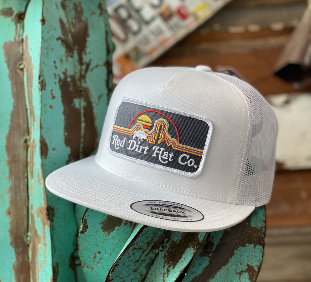 Red Dirt Hat Co. - All White Neon Buffalo patch - Jobes Hats