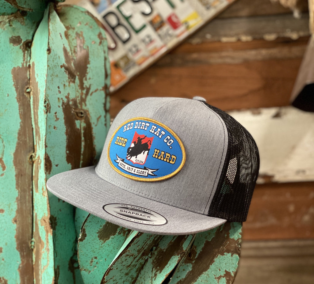 Red Dirt Hat Co. - Grey/Black Ride Hard oval patch - Jobes Hats