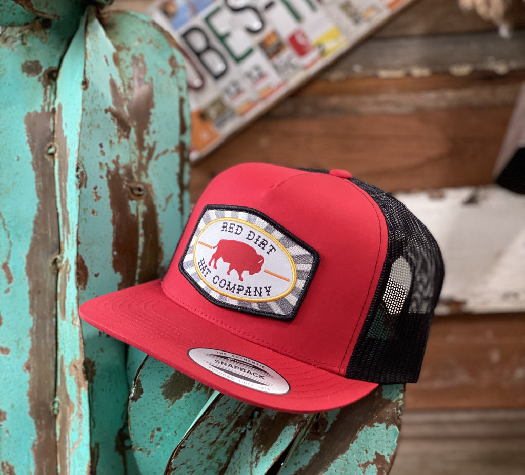 Red Dirt Hat Co. - Red/Black Red Buffalo patch - Jobes Hats