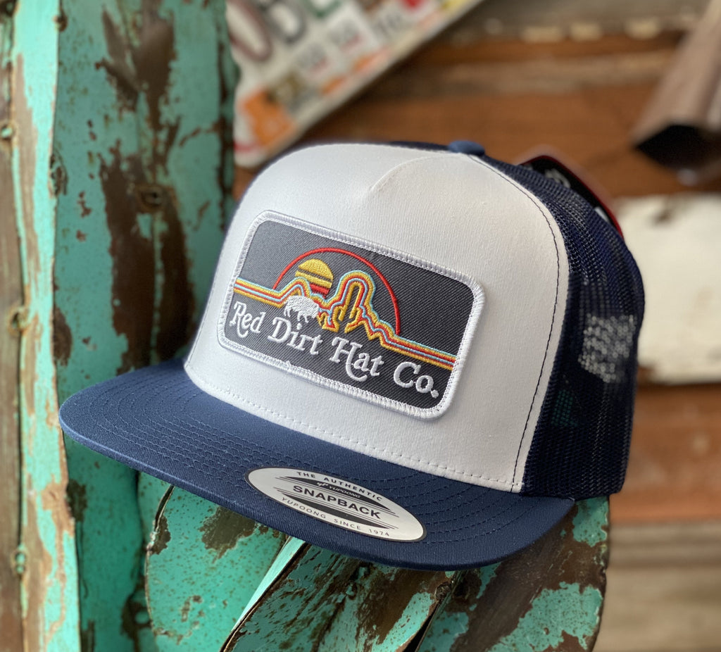 Red Dirt Hat Co. - White/Navy mesh Neon Buffalo patch - Jobes Hats