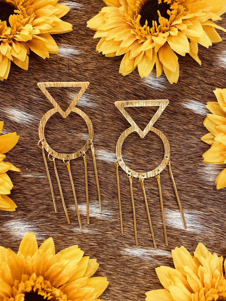 Retro Fringe Gold Colombian Handmade 24k plated Earrings - Jobes Hats